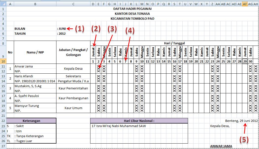 Membuat Daftar Hadir Otomatis Dengan Microsoft Excel Mangalaisme